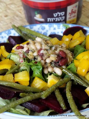 סלט ירקות צבעוני בתיבול סלט קטניטות של שטראוס