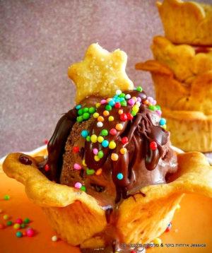 גביע פריך אפוי לקינוח גלידה מושלם