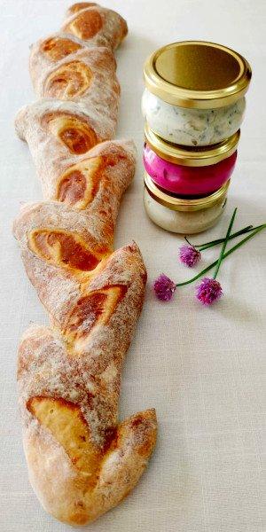 """לחם שיבולת ארוך 60 ס""""מ + 3 ממרחים"""
